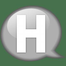 Speech balloon white h icon