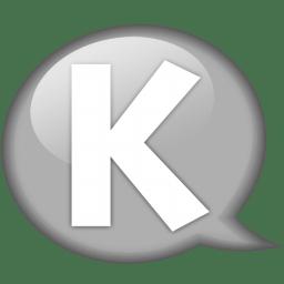 Speech balloon white k icon