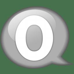 Speech balloon white o icon