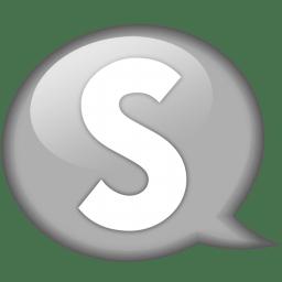 Speech balloon white s icon