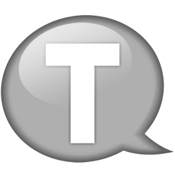 Speech balloon white t icon