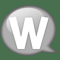 Speech balloon white w icon