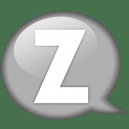 Speech balloon white z icon