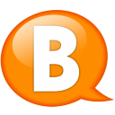 Speech balloon orange b icon