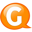Speech balloon orange g icon