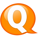 Speech balloon orange q icon