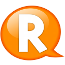 Speech balloon orange r icon