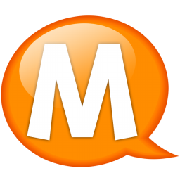 Speech balloon orange m icon