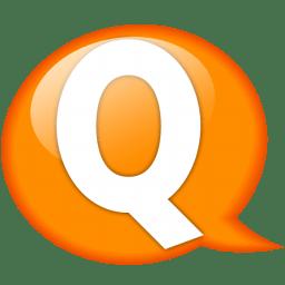 Speech balloon orange q icon