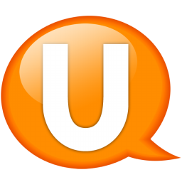 Speech balloon orange u icon