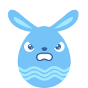 Blue angry icon
