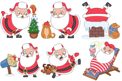 Santa Stickers Icons