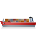Container-Ship-Left-Red icon