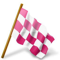 Map Marker Chequered Flag Right Pink icon