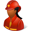 Occupations Firefighter Female Dark icon