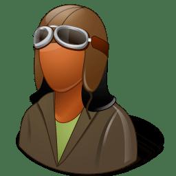 Occupations Pilot OldFashioned Female Dark icon