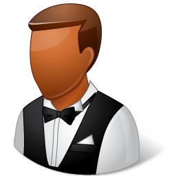 Occupations Waiter Male Dark icon