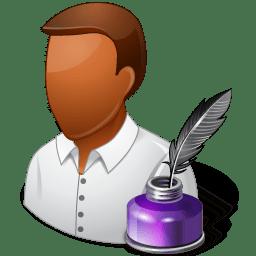 Occupations Writer Male Dark icon