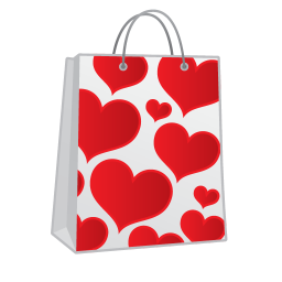 Shopping bag hearts icon