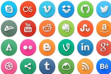 Modern Social Media Circles Icons