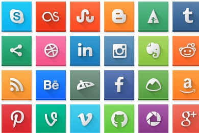 Modern Social Media Squares Icons