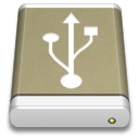 Lightbrown External Drive USB icon
