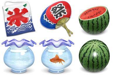Japan Summer Icons