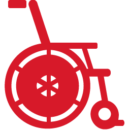 Wheelchair red icon