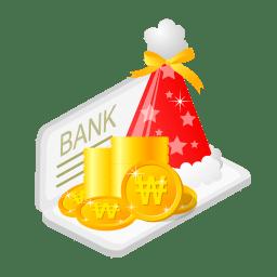 Christmas bank money icon