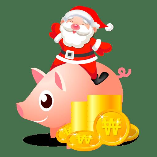 Santa piggy bank icon
