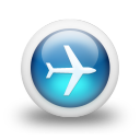 Glossy 3d blue plane icon
