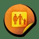 Orange sticker badges 085 icon