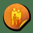 Orange sticker badges 086 icon