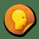 Orange sticker badges 087 icon