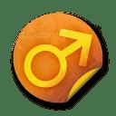 Orange sticker badges 123 icon