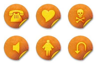 Orange Grunge Stickers Icons