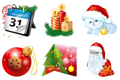 Plastic New Year Icons