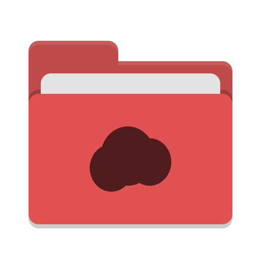 Folder red mail cloud icon