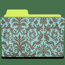 Folder damask turquoise icon