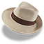 Hat linen trilby icon