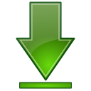 Actions green arrow down bottom icon