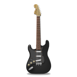 Guitar stratocaster black icon