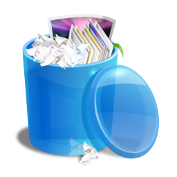 Blue recycle bin icon