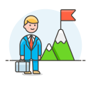 Success goal businessman icon