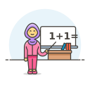 Teacher maths female icon