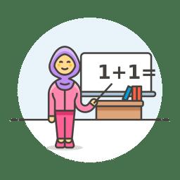 Teacher maths female icon