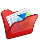 Folder red mypictures icon