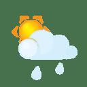 Sun lightcloud rain icon
