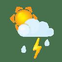 Sun littlecloud flash rain icon