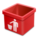 Red trash empty icon